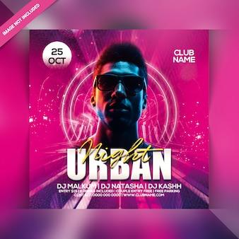 Urban night party flyer vorlage