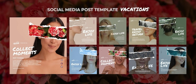 Urlaubskonzept social media post vorlage
