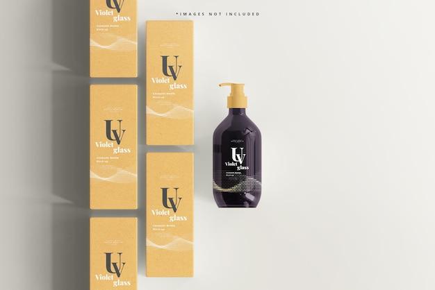 Uv-glas pumpflasche und box mockup