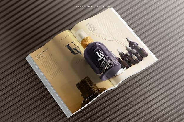 Uv-glaskosmetik-sprühflasche mit magazinmodell