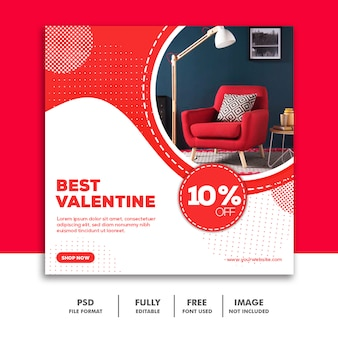 Valentine banner social media banner instagram, möbel modern best red