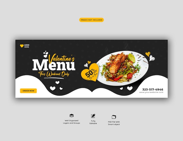 Valentine food menü und restaurant facebook cover vorlage