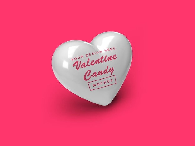 Valentine heart candy mockup design isoliert