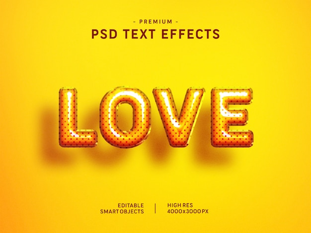 Valentine love balloon text style-effekt auf gelb