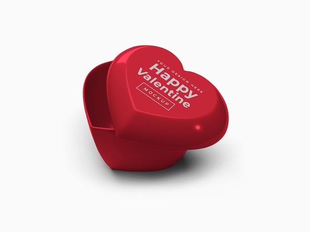 Valentine love heart container mit deckel mockup design isoliert