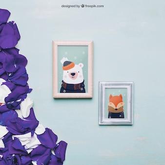 Valentine-modell mit rahmen und purpurroten blumenblättern