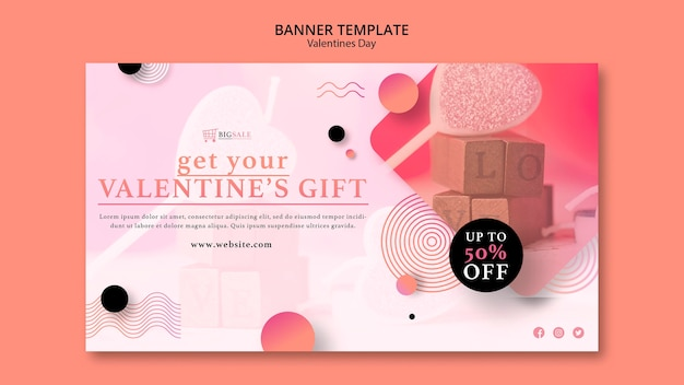 Valentinstag banner vorlage mit foto