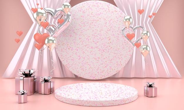 Valentinstag design mit sockel und herzen in 3d-rendering