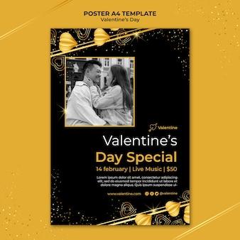 Valentinstag druckvorlage mit goldenen details