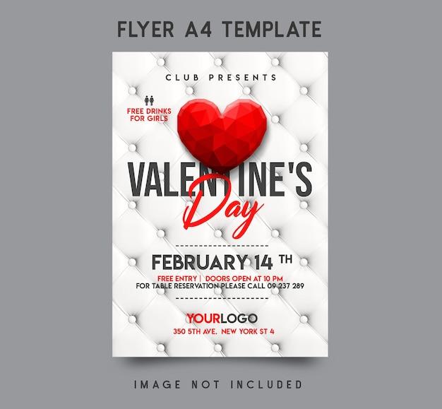 Valentinstag flyer vorlage design