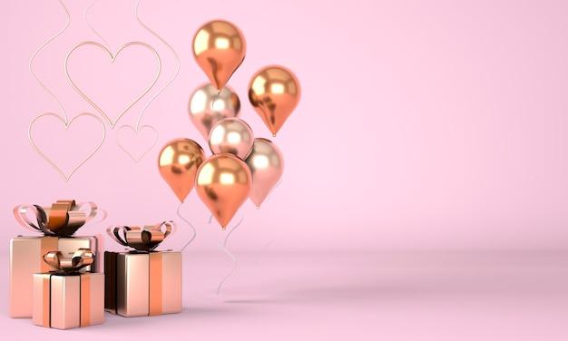 Valentinstag. hintergrund mit realistischer festlicher geschenkbox. romantisches geschenk. goldene herzen. 3d-rendering.