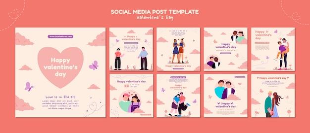 Valentinstag instagram beiträge illustriert