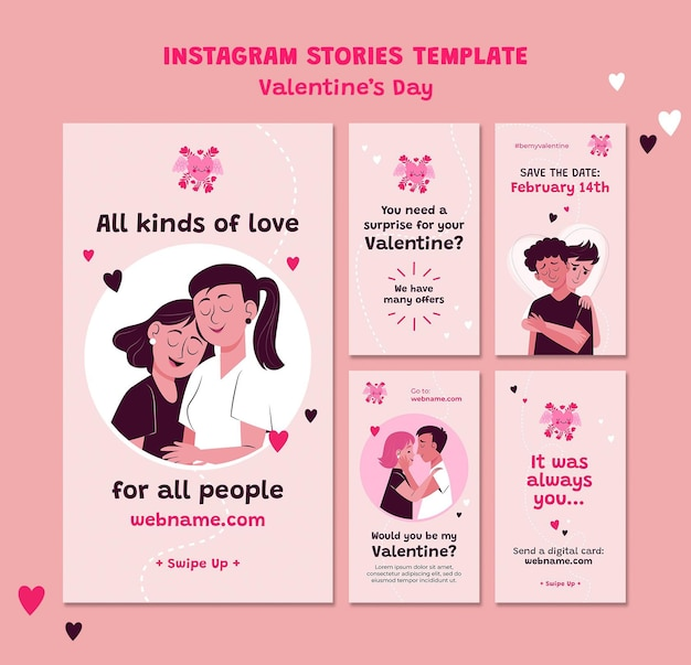 Valentinstag instagram geschichte illustriert