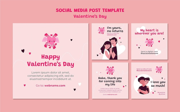 Valentinstag instagram post illustriert