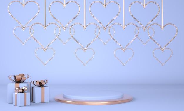 Valentinstag interieur mit sockel für waren