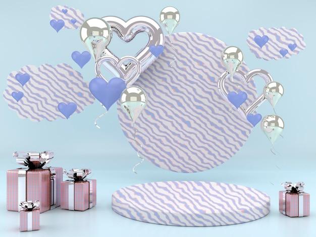 Valentinstag interieur mit sockel, herzen.