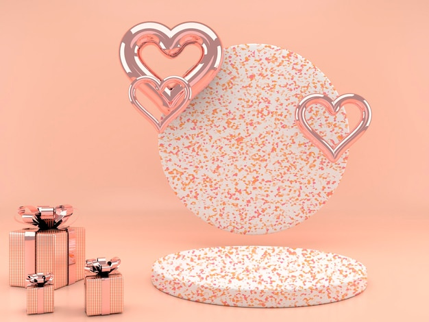 Valentinstag interieur mit sockel und herzen in 3d-rendering