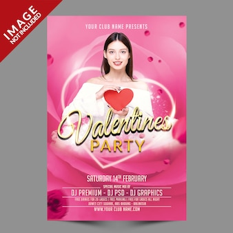 Valentinstag party flyer premium psd vorlage