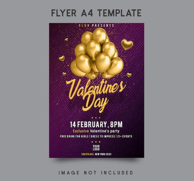 Valentinstag party flyer vorlage design