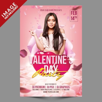 Valentinstag party psd flyer vorlage