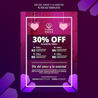 Valentinstag rabatt flyer briefpapier vorlage