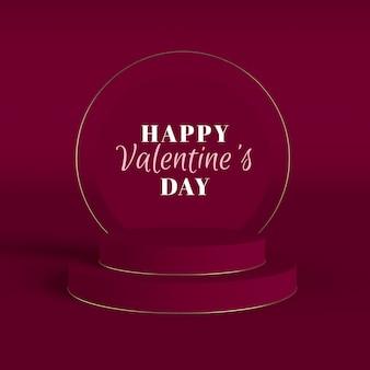 Valentinstag-rendering mit goldrahmen und podien
