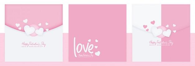 Valentinstag-social media-beitrags-gesetzte schablone