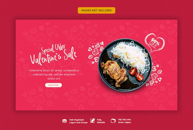 Valentinstag verkauf web banner vorlage