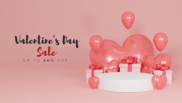 Valentinstag-verkaufsfahne mit 3d-rendering des podiums