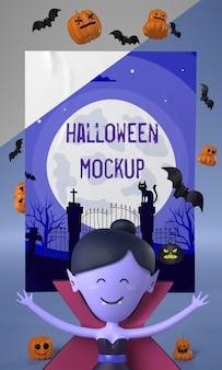 Vampirfrau neben halloween-karte