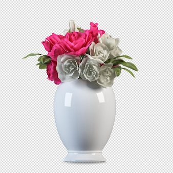Vase der rosen im 3d-rendering-isolat