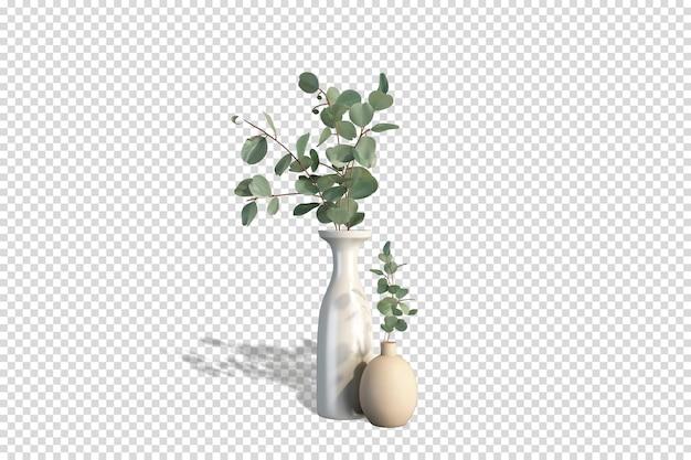 Vase mit ästen in 3d-rendering