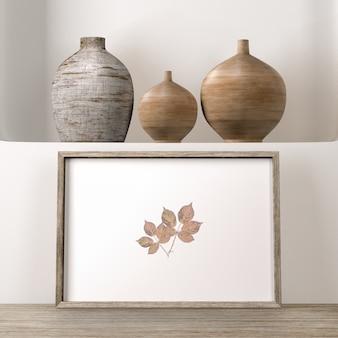 Vasen auf der oberfläche mit rahmen als hausdekor