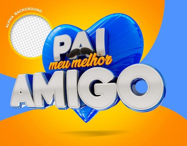 Vater bester freund in brasilien logo 3d render