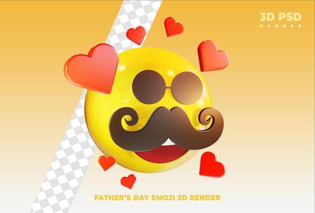 Vatertag emoji mit liebe 3d render symbol abzeichen isoliert badge