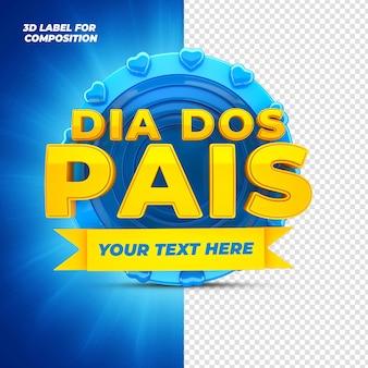 Vatertag mit blauem podium 3d-rendering für brasilianische kampagnen