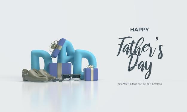 Vatertag mit schreibendem vater und blauer geschenkbox