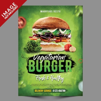 Vegetarische burger flyer vorlage