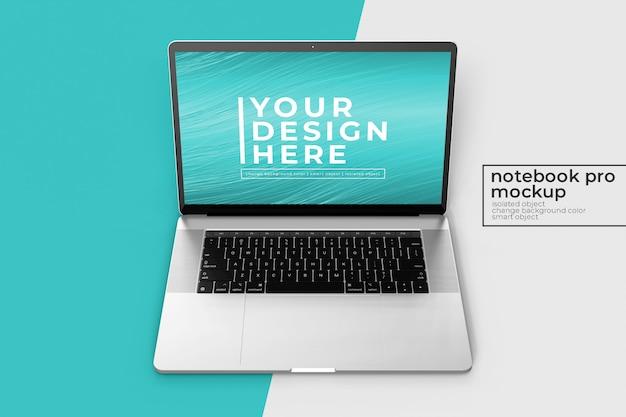 Veränderbare hochwertige realistische 15'4-zoll-notebook pro für website, benutzeroberfläche und apps mockups s in front view
