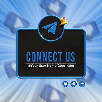 Verbinden sie uns in den sozialen medien von telegram im unteren drittel des 3d-design-render-symbol-abzeichens