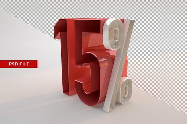 Verkauf 15 prozent rabatt auf werbe 3d isoliertes konzept