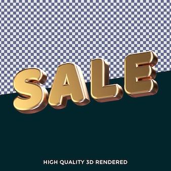 Verkauf 3d gerenderten isolierten textstil mit realistischer goldener metallischer textur