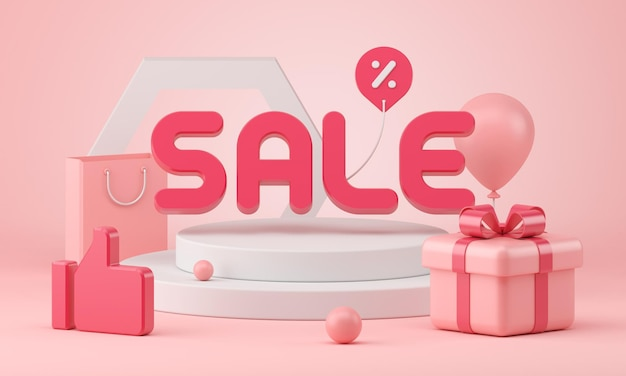 Verkauf 3d wiedergabe der geschenkbox mit ballon