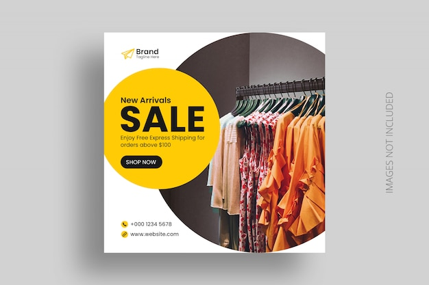 Verkauf social media instagram post vorlage mit digital square business flyer