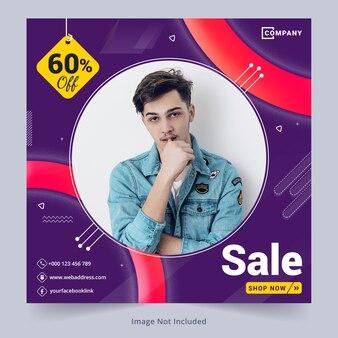 Verkaufs-social media-fahnenschablone