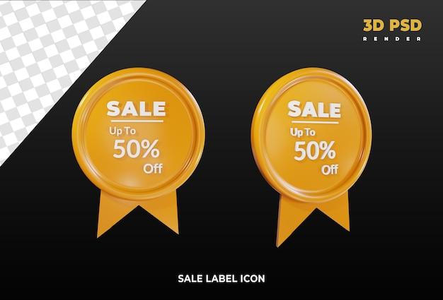 Verkaufsetikett 3d rendern symbolabzeichen isoliert