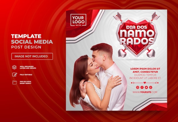 Veröffentlichen sie den valentinstag in den sozialen medien in portugiesischem 3d-rendering