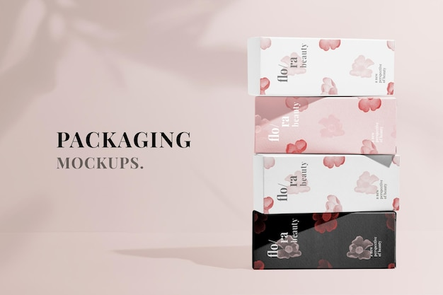 Verpackendes psd-modell für schönheitsprodukte, remix aus kunstwerken von zhang ruoai