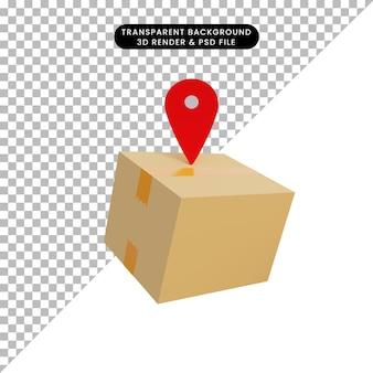 Verpackung der illustration 3d mit standortikone