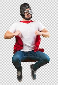 Verrückter superheld fliegt